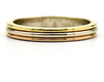 Vintage Cartier Three Types of Gold Wedding Band Ring Size 6 (52)