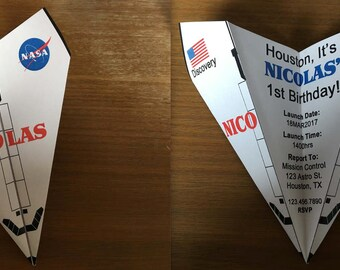 Space Shuttle Discovery NASA Inspired Paper Airplane Invitation - Personalize Font, Verbiage & More! Perfect for Birthdays, Promotions, Etc!