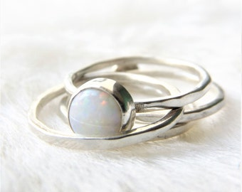 Opal ring- Silver stacking rings - Opal stacking ring- Sterling silver opal stackable - Stackable ring- October birthstone- Opal- Gift