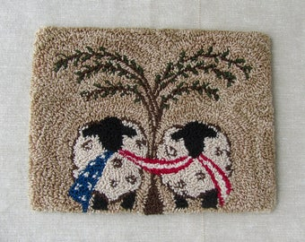 Punch Needle Pattern ~ Patriotic Sheep with Flag ~ Punchneedle pdf Pattern ~ Needle Punch Epattern ~ Willow Tree ~ Americana