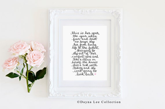 This is her year - Original quote by Dayna Lee Collection- Inspirational Quote Hand Lettered Art Print