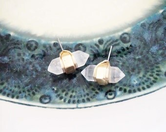 Crystal Stone Wrapped Stud Earrings