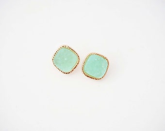 Mint Green and Gold Druzy Square Post Stud Earrings