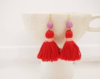 Dark Pink Tassel Beaded Earrings