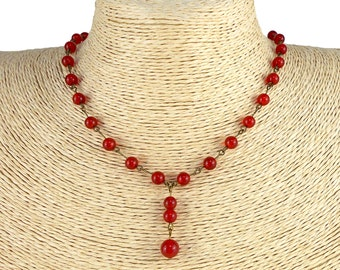 Red Carnelian Y Necklace, available in Antique Bronze or Silver Plated