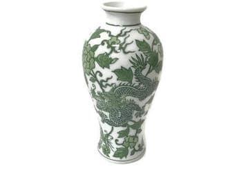 Green and White Vase