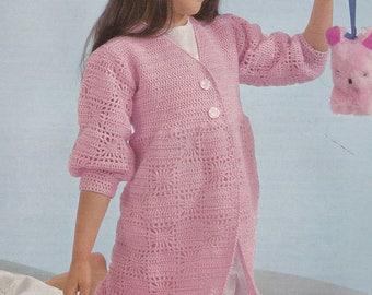 Vintage crochet pattern kid's dressing gown kid's robe pdf INSTANT download crochet pattern only pdf 1970s