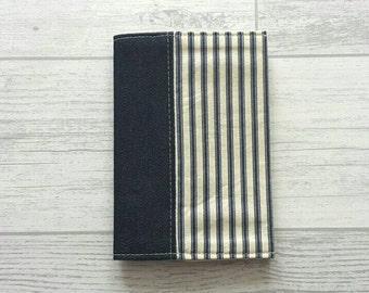 Striped Denim Fabric Passport Cover, Striped Passport Holder, Travel Accessories, Gifts For Him, Gifts For Her, Travel Wallet, Teacher Gifts
