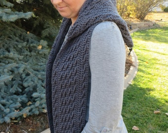 Harvest Waves Hooded Scarf - CROCHET PATTERN ONLY - cabled scarf pattern - scoodie - hoodie scarf