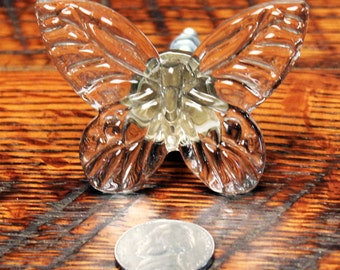 Handmade Glass Butterfly Knobs Cabinet Drawer Knobs Vintage Knobs Butterfly Drawer Pull Fancy Knob Handcrafted Glass Butterfly Drawer Pull