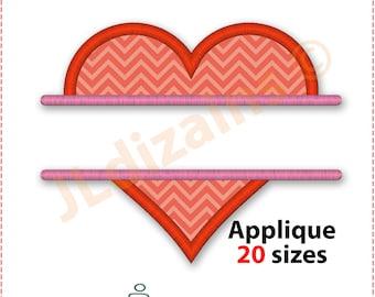 Split Heart Applique Design. Split heart embroidery design. Heart applique design. Heart embroidery. Name heart. Machine embroidery design