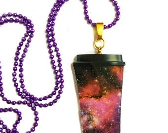Coffee Mug, Galaxy Necklace, Space, Universe Pattern, Nebula, Purple Blue Stars, Coffee Lovers Gift , Long Necklace, Aurora borealis, Nerdy