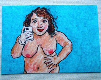 "No. 217 #Selfie (ARTIST TRADING CARD) 2.5"" x 3.5"" by Mike Kraus"