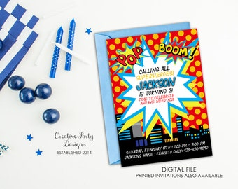 Superhero Invitation - Superhero Birthday Invitation - Boy Superhero Party Invitation - Printable - DIY - Birthday Party Theme for Boys
