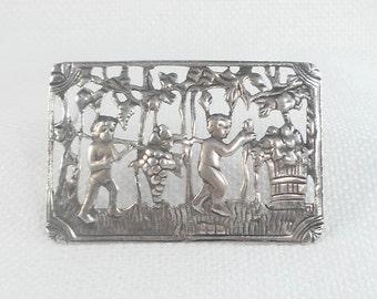 Vintage 1940's Sterling Silver Cherubs Making Wine Brooch Sterling Silver Vineyard Cherubs Pin
