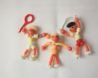 Set of 3 Bead Athletes,  Bead people, Czech bead Sports Figures, Olympics souvenir, Bead Czech figures, Beaded People