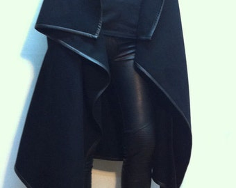 High Collar Coat/Asymmetrical Vest with Pockets/Wool Sleeveless Vest/Eco Leather Edging Vest/F1303