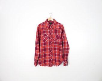 Vintage 70s Plaid Flannel 100% Cotton Western Size XL