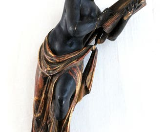 Antique neoclassical polychrome and ebonized wood figurine finial