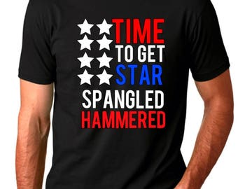 Time to get star spangled hammered, T-shirt or Tank Top, Men, Women, 'Merica, 4th of july, Memorial Day, Red, White, and blue, wine