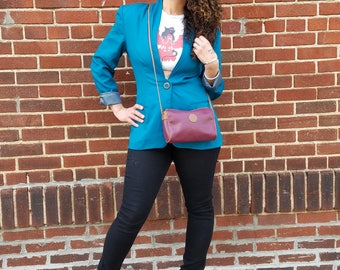 Women's Vintage 90's Blazer Turquoise Blue / One Button / Shoulder Pads / Lined / Suit Jacket / Christy Girl NY
