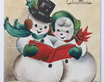 Mother and Dad - Unused Vintage 1950s Hallmark Christmas Card