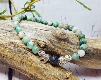 Lucky Elephant Essential Oil Diffuser Bracelet ~ Jade Bracelet, Heart Chakra, Karma Bracelet, Gemstone Yoga Bracelet, Aromatherapy Bracelet