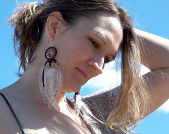 Leather dream catcher earrings with citrine & jasper, brown white, dreamcatcher earrings, long earrings, feather earrings, Boho ear jewelry