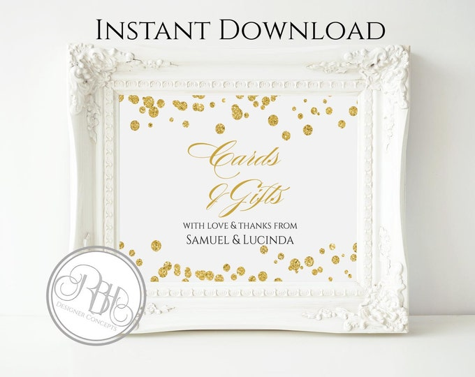 Gold Glitter Polka Dots Cards & Gift Sign Template - INSTANT DOWNLOAD-DIY Text Editable-Gold Polka Dots Cards Gift Sign-Elizabeth