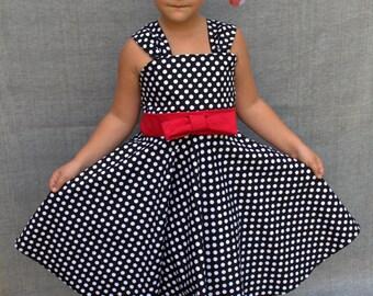 Black polka dot dress, Rockabilly dress,Rockabilly dress, Toddler party dress, 50s Birthday dress, Girls flared dress, Black red dress