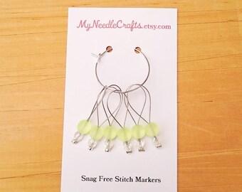 Stitch Markers, Snag Free Beaded Knitting Stitch Markers - Set of 6 Round Matte Yellow Glass Beads