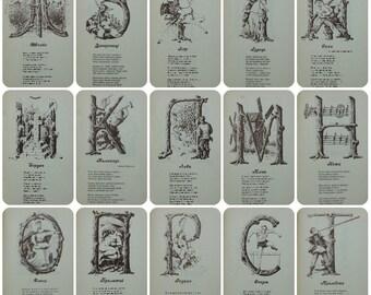 Ukrainian alphabet, History of Ukraine, ABC - Vintage Children's Book - 1993. Illustrator Ya. Paladiy. Cyrillic alphabet, Letters