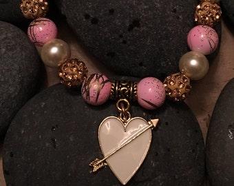 Cream Heart With Arrow Charm Bracelet