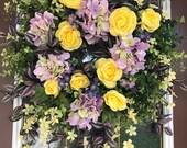 Ready To Ship, Front Door Wreath, Eucalyptus Wreath, Elegant Wreath, Spring Wreath, Yellow Wreath, Summer Wreath