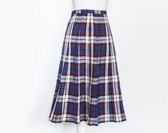 Vintage 80s Plaid Skirt | Blue Checkered Skirt | Plaid Midi Skirt | Pleated Skirt | Blue Pleat Skirt | Preppy Midi Skirt - Size L Large
