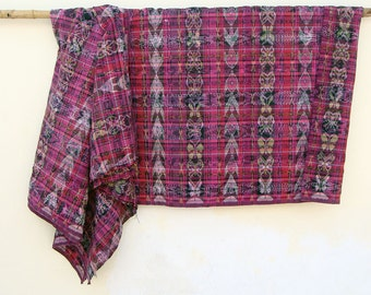 Vintage Handwoven Ikat Fabric | Pink Ethnic Textile | Upholstery Fabric