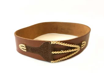 Vintage camel brown Belt . Golden braided buckle . French 1980 high-end belt .