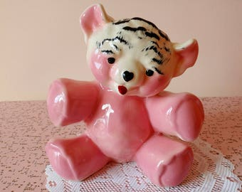 Big vintage pink teddy bear planter