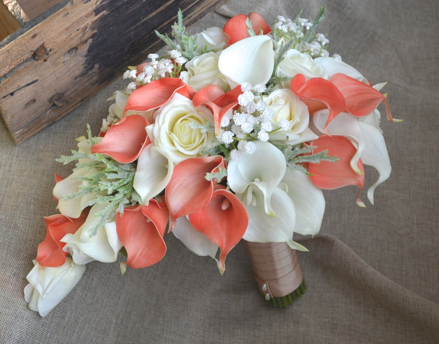 Cascade bridal bouquet coral ivory real touch flowers calla - Rosas color coral ...
