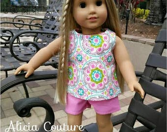 18 inch Doll Clothes, 18 inch Doll Top & Shorts and Hair Bow Tie, 18 inch Doll Outfit
