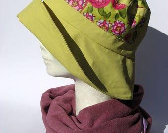 women rain hat, ladies rain hat,  windy days, waterproof fabric yellow, bucket rain hat, rain flapper
