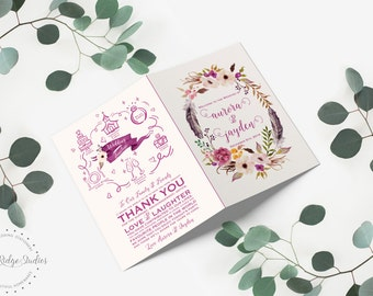 Printable Wedding Program Booklet, Order of Service, Romantic Watercolor Floral, Floral Bohemian Style, DIY Printable Program