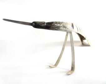 Large Carved Wading Bird, Horn Carved Wader Scuplture