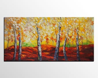 Landscape Painting, Abstract Painting, Canvas Art, Abstract Art, Large Art, Autumn Tree Painting, Heavy Texture Wall Art, Original Painting