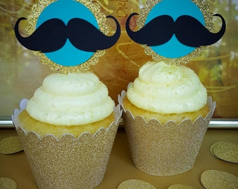 Mustache Cupcake Toppers, Little Man Baby Shower, Cupcake Toppers, Baby Shower Cupcake Toppers, Mustache Toppers, I Mustache You A Question