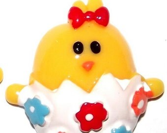 2 CHICK in FLOWER BASKET Resin Flatback Cabochons Embellishments for Scrapbooking & Hair Bows