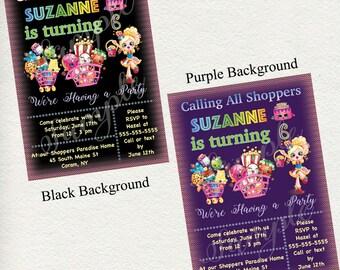 "Shopkins / Shopping  birthday party invitation - 5"" x 7"" size - You Choose Purple or Black Background - I design, you print -Shopkins#315"