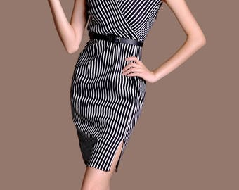 Vertical Striped Sheath Dress Black and White Party Dress Sexy Deep V Neck Vintage Party Dress Elegant Bespoke Clothing ChiefLady CX06
