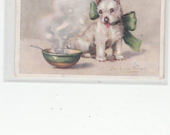"""A/S Sweet Westie Dog """"So  Their porridge Is Too Hot,  Scarce West Highland Terrier Postcard PM 1943"""