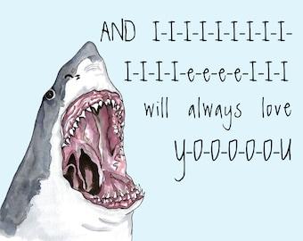 Funny Romantic SHARK print, I Love You print, shark gift, funny shark painting, awesome shark artwork, ocean
